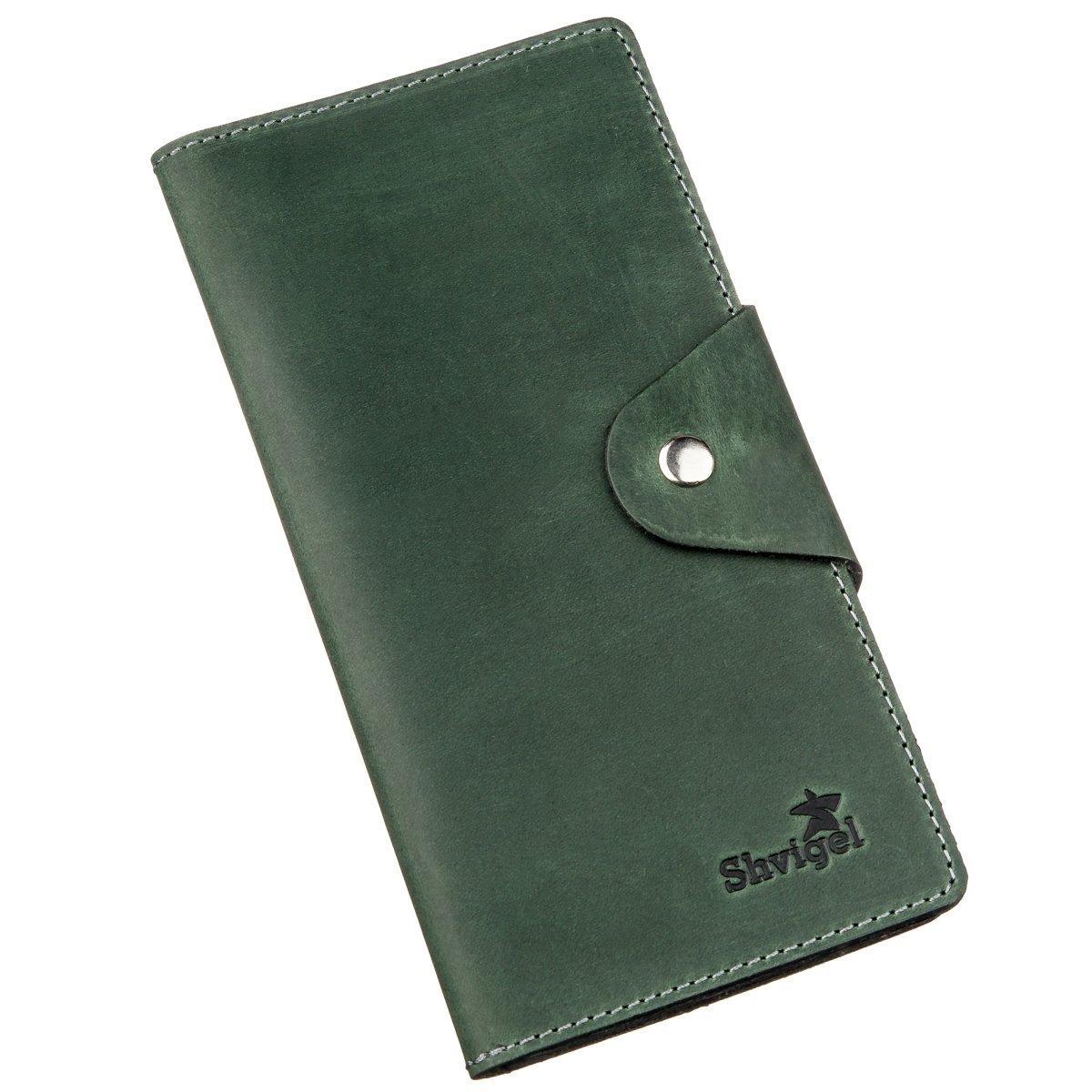 Бумажник унисекс из винтажной кожи SHVIGEL 16168 Зеленый