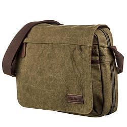 Текстильная сумка для ноутбука через плечо Vintage 20187 Оливковая
