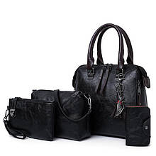 Женская сумка 4в1, экокожа PU (чёрный)