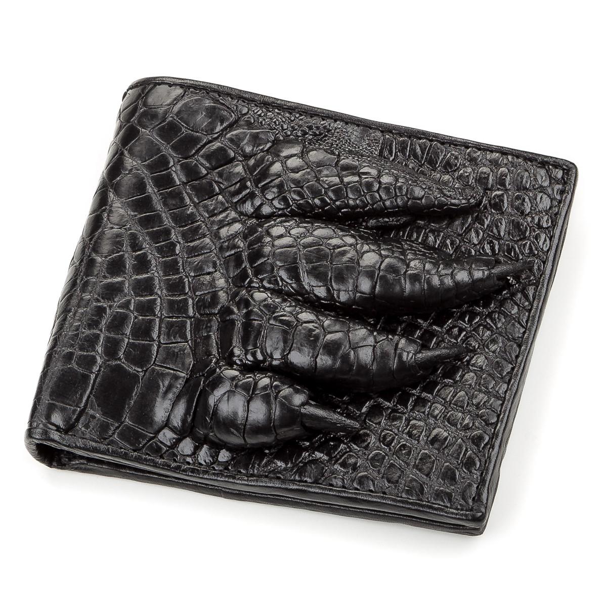 Кошелек мужской CROCODILE LEATHER 18200 из натуральной кожи крокодила Черный