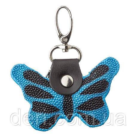 Брелок сувенир бабочка STINGRAY LEATHER 18537 из натуральной кожи морского ската Cиний, Синий, фото 2