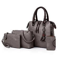 Женская сумка 4в1, экокожа PU (серый)