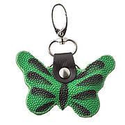 Брелок сувенір метелик STINGRAY LEATHER 18539 з натуральної шкіри морського скату Зелений, Зелений