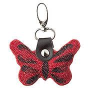 Брелок сувенір метелик STINGRAY LEATHER 18541 з натуральної шкіри морського скату Червоний, Червоний