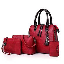 Женская сумка 4в1, экокожа PU (красный)