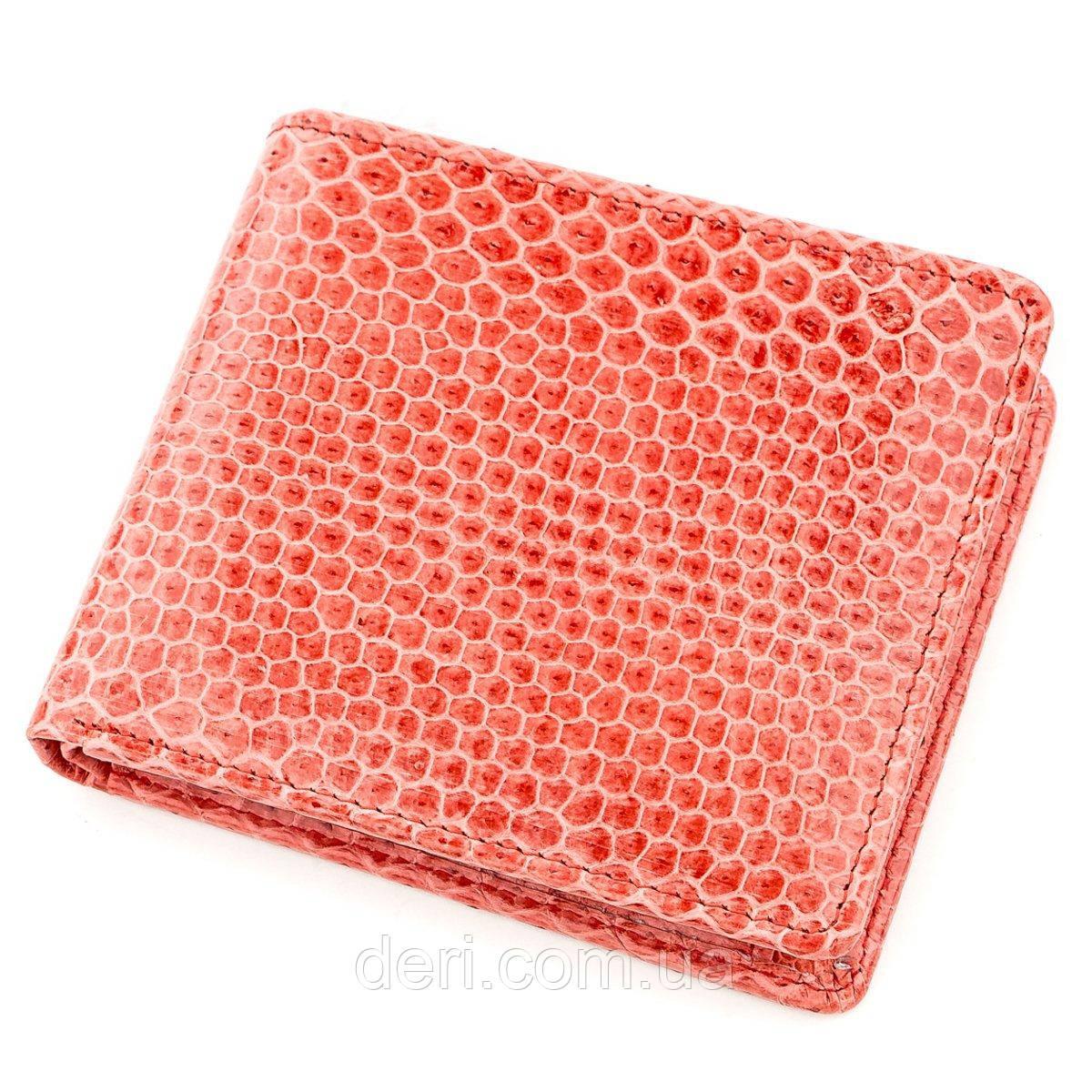 Бумажник женский из натуральной кожи морской змеи красный