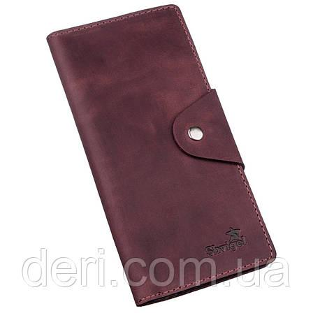Бумажник женский вертикальный из винтажной кожи на кнопках бордовый, фото 2