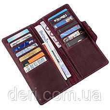 Бумажник женский вертикальный из винтажной кожи на кнопках бордовый, фото 3