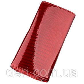 Гаманець жіночий з екошкіри червоний лаковий, фото 2