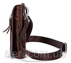 Сумка-клатч на ремень мужская Vintage 14690 Коричневая, Коричневый, фото 3