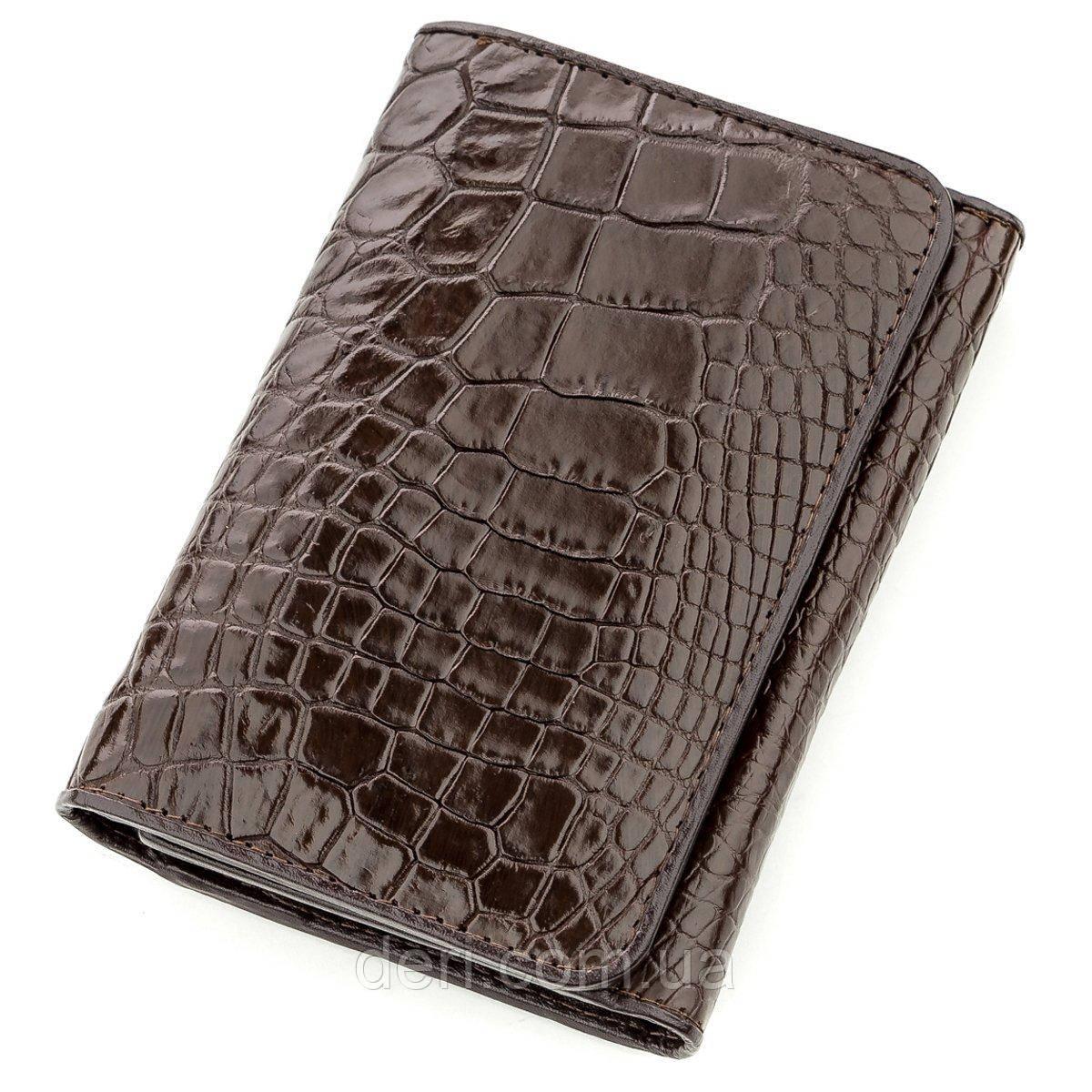 Бумажник мужской CROCODILE LEATHER из натуральной кожи крокодила Коричневый, Коричневый