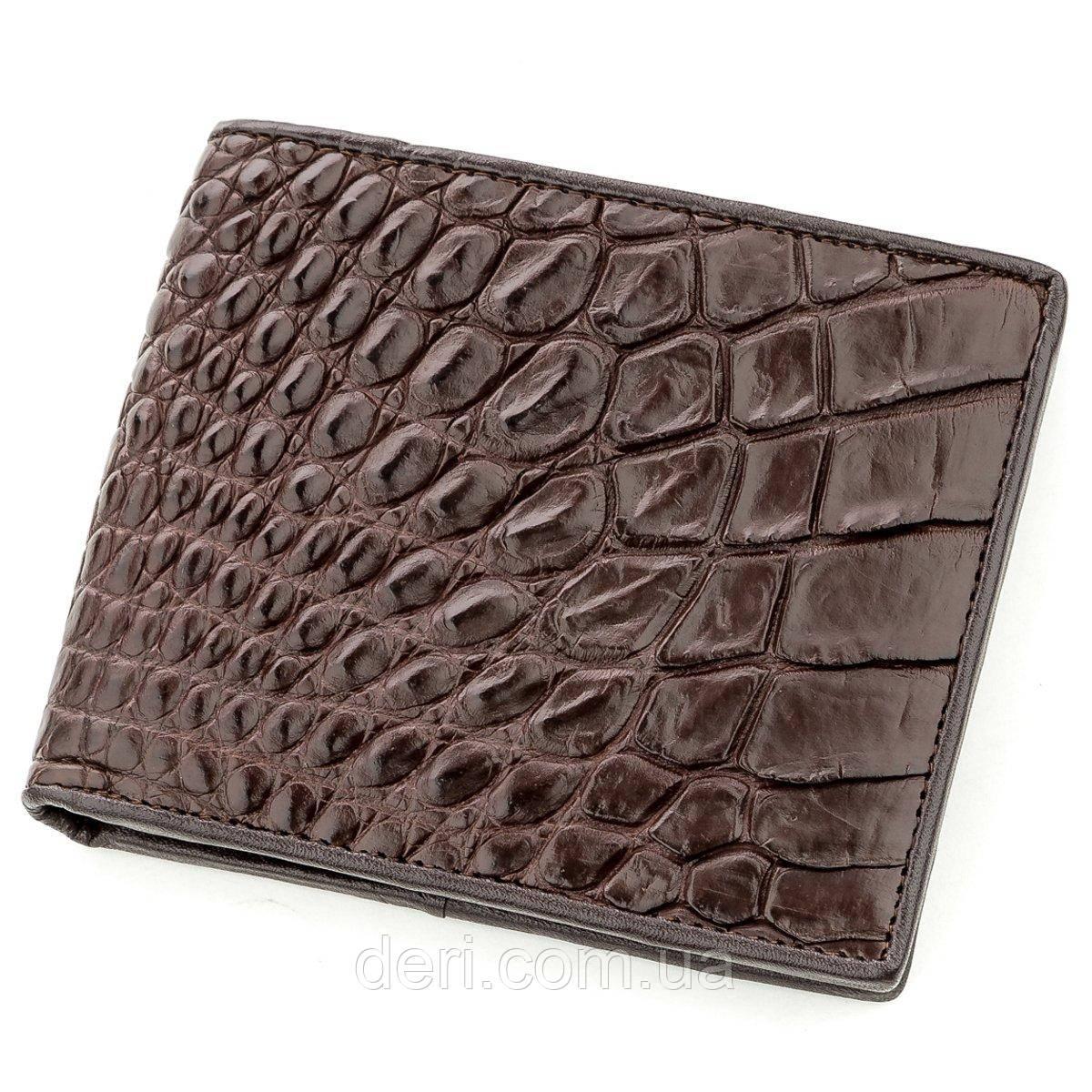 Коричневый бумажник мужской из натуральной кожи крокодила CROCODILE LEATHER