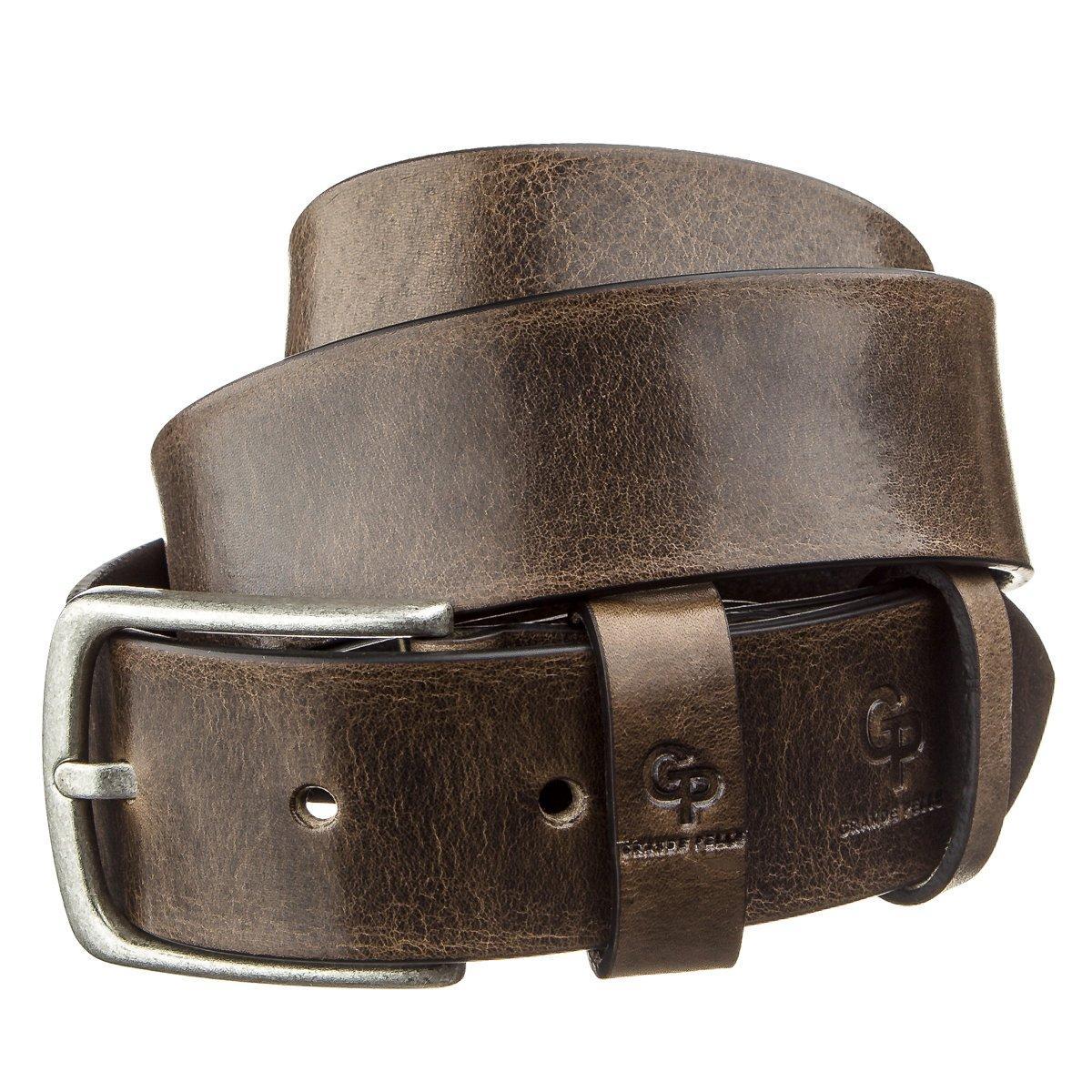 Ремень мужской с круглой пряжкой Grande Pelle 11274 Серо-коричневый