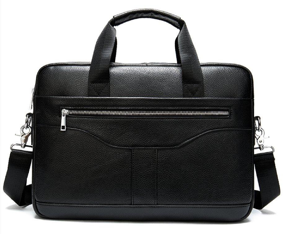 Ділова чоловіча сумка з зернистою шкіри Vintage 14886 Чорна