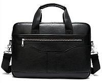 Ділова чоловіча сумка з зернистою шкіри Vintage 14886 Чорна, фото 1