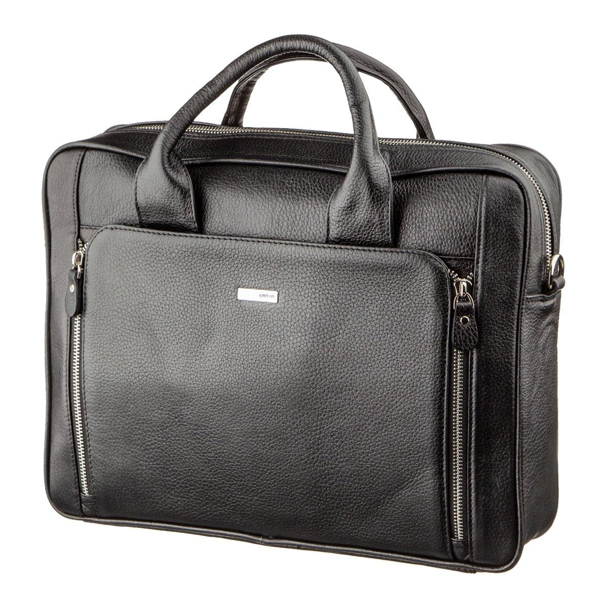 Деловая мужская сумка из кожи KARYA 17284 Черная
