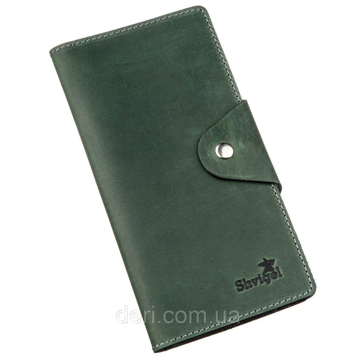 Місткий вертикальний гаманець унісекс з вінтажній шкіри зелений