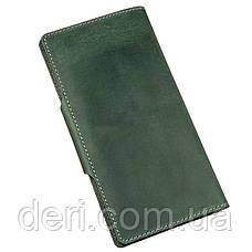 Місткий вертикальний гаманець унісекс з вінтажній шкіри зелений, фото 2