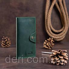 Місткий вертикальний гаманець унісекс з вінтажній шкіри зелений, фото 3