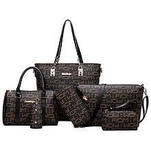 Женская сумка 6в1, экокожа PU (коричневый+чёрный)