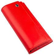 Яркий женский кошелек на кнопке красный