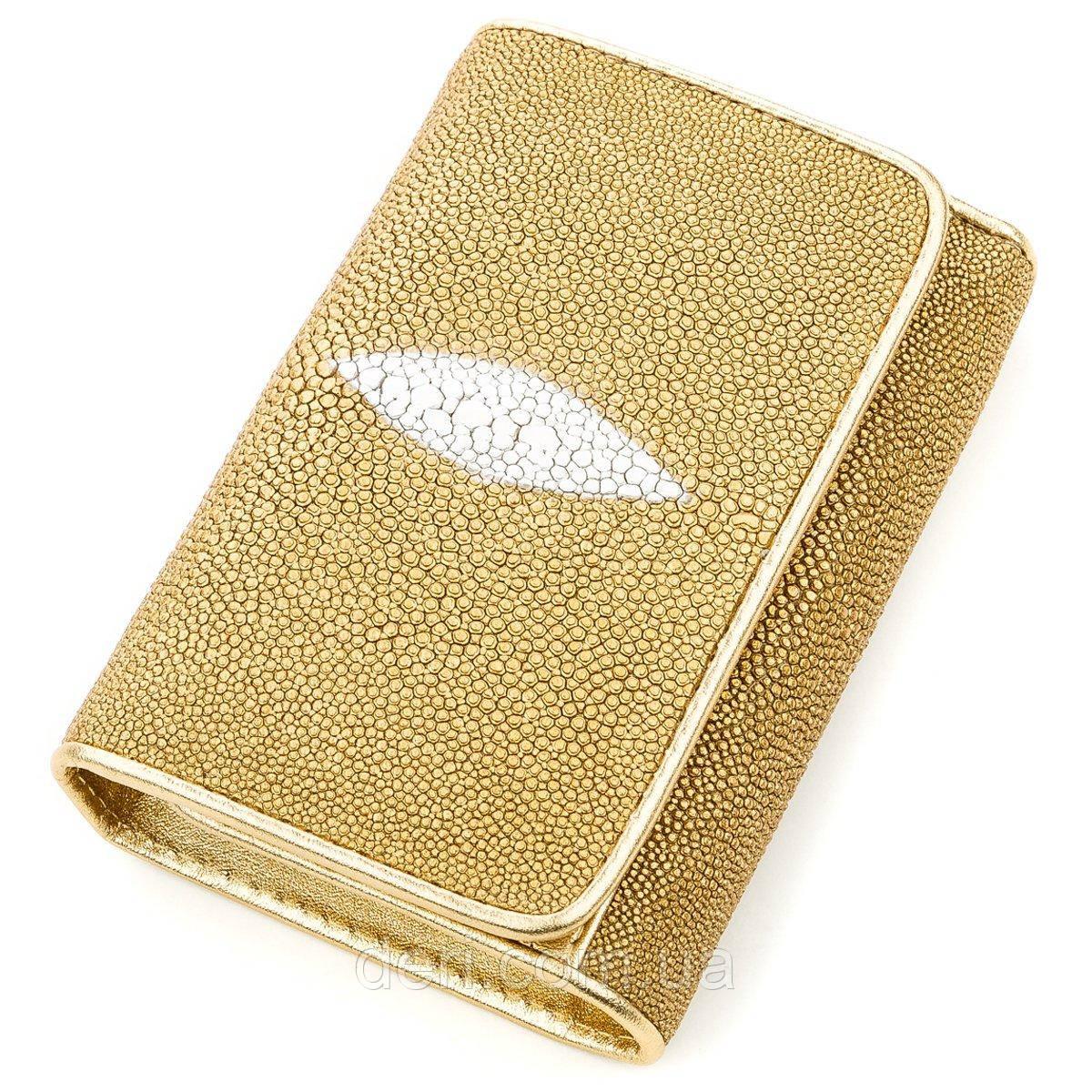 Вертикальний жіночий гаманець STINGRAY LEATHER 18639 з натуральної шкіри морського скату Золотистий, Жовтий