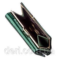 Вместительный женский кошелек на кнопке зеленый, фото 3
