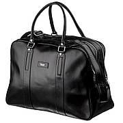 Деловая мужская дорожная сумка гладкая кожа KARYA 17385 Черная, Черный
