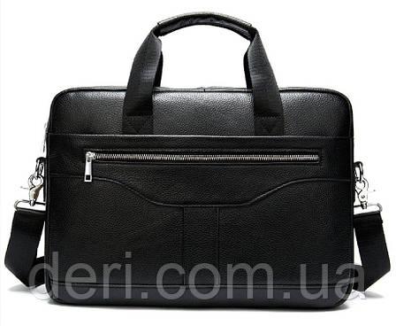Деловая мужская сумка из зернистой кожи Vintage 14886 Черная, Черный, фото 2