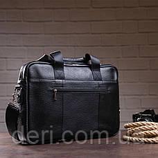 Деловая мужская сумка из зернистой кожи Vintage 14886 Черная, Черный, фото 3