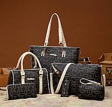Женская сумка 6в1, экокожа PU (коричневый+беж)