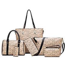 Женская сумка 6в1, экокожа PU (беж+коричневый)