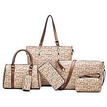 Женская сумка 6в1, экокожа PU (беж+золото)