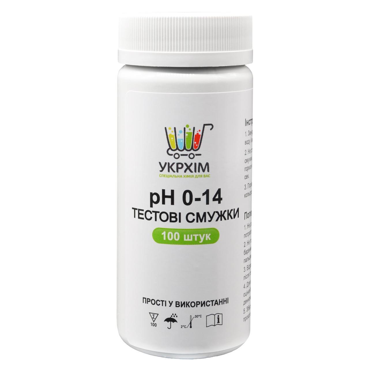 Індикаторні смужки на pH 0-14 (100 шт.) UKRHIM TS-PH14-100