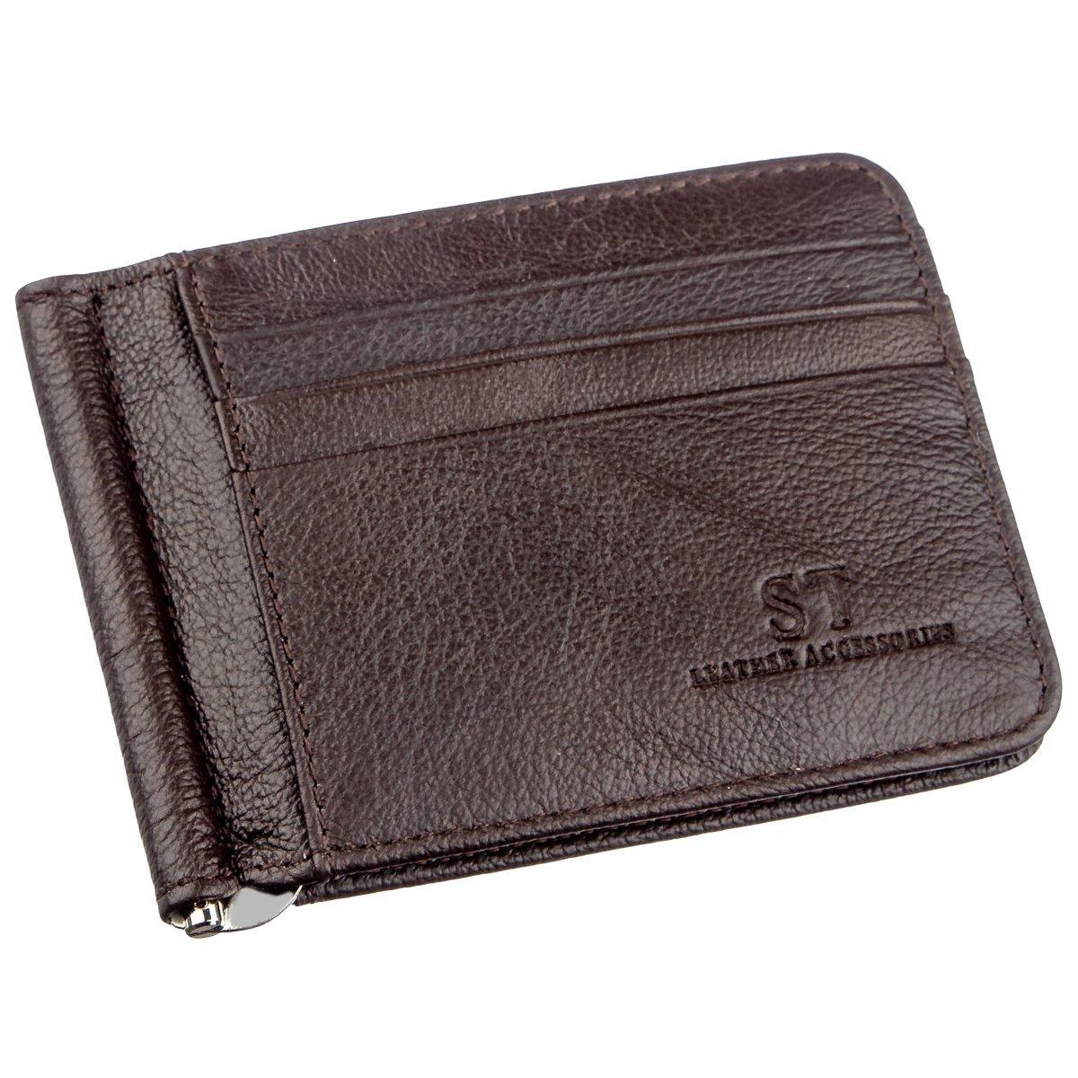 Стильный мужской зажим ST Leather 18941 Коричневый