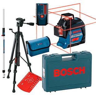 Линейный лазерный нивелир Bosch Professional GLL 3-80 + штатив BT 150 + приемник LR 6 + чехол + чемодан