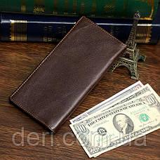 Купюрник мужской Vintage кожаный Коричневый, Коричневый, фото 2