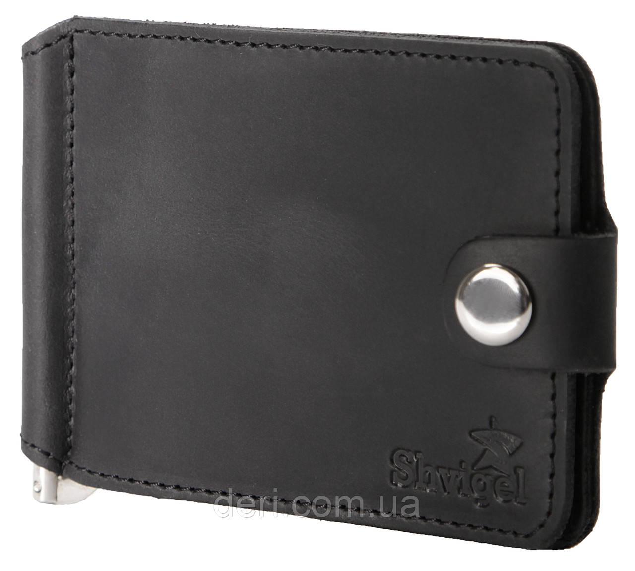 Затискач для купюр SHVIGEL 13787 з вінтажній шкіри Чорний, Чорний