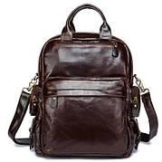 Рюкзак – трансформер кожаный Vintage 14889 Коричневый, Коричневый