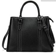 Классическая женская сумка в коже флотар Vintage 14861 Черная, Черный