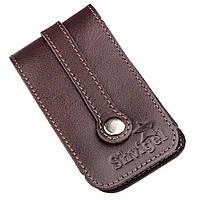 Компактна шкіряна ключниця з хлястиком SHVIGEL 13989 Коричнева, фото 1