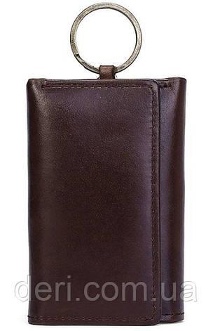 Стильная кожаная ключница Vintage 14931 Коричневая, Черный, фото 2