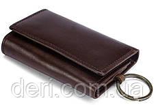Стильная кожаная ключница Vintage 14931 Коричневая, Черный, фото 3