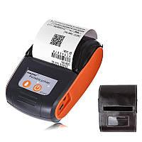 Мобильный термопринтер чеков для смартфона bluetooth Goojprt PT-120, pos принтер + чехол, оранжевый