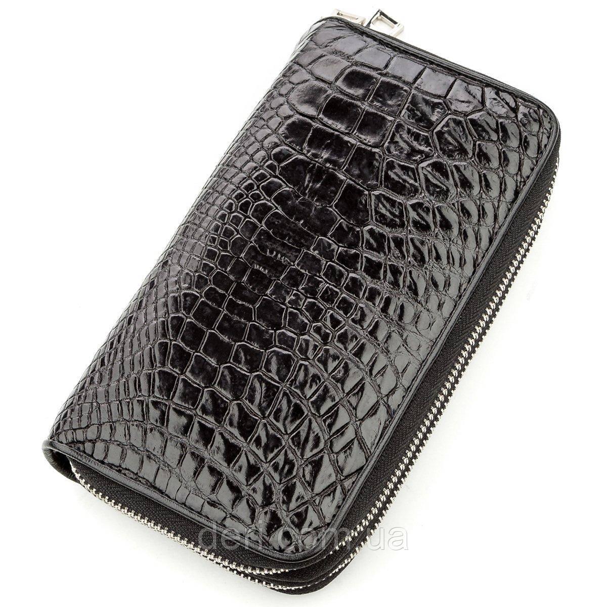 Клатч мужской CROCODILE LEATHER 18525 из натуральной кожи крокодила Черный, Черный