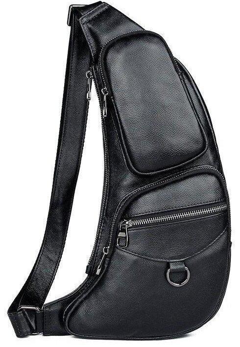 Сумка для чоловіків слінг через плече в гладкій шкірі Vintage 20204 Чорна