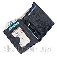 Мужской бумажник тонкий кожа синий, фото 3