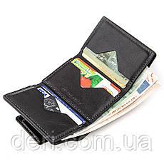 Строгое портмоне унисекс из гладкой кожи черный  GRANDE PELLE, фото 3