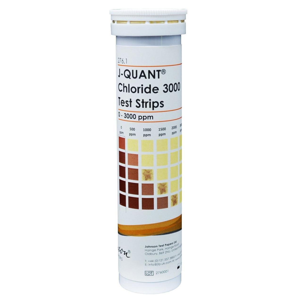 Тестові Смужки на хлориди до 3000 ppm JTP J-QUANT Chloride 3000 (100 шт)