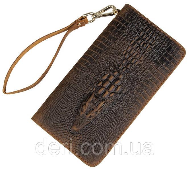 Чоловічий клатч Vintage 14366 шкіра під крокодила Коричневий, Коричневий